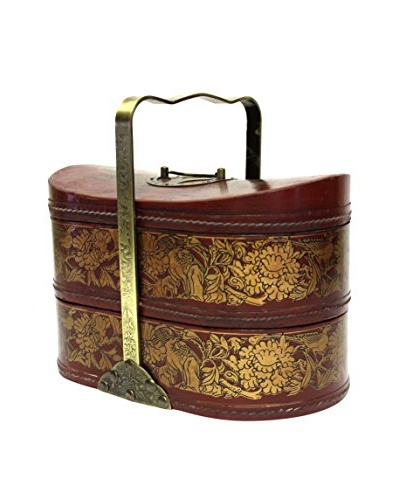 Asian Loft Leather and Brass Stacking Basket with Handle, Red/Gold