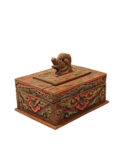 Asian Loft Hand-Carved Wooden Balinese Box, Multicolor