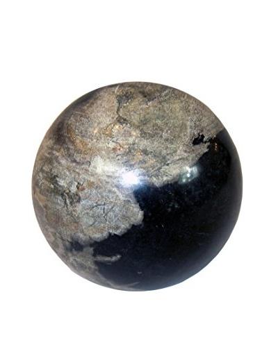 Asian Loft Petrified Wood Sphere, Black/Grey/White