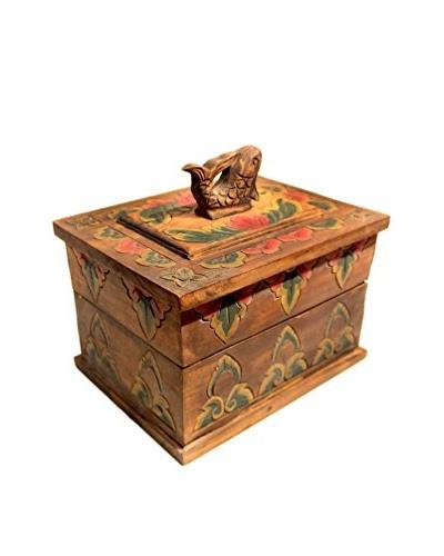 Asian Loft Carved Wooden Decorative Fish Box