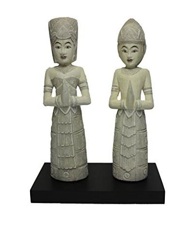 Asian Loft Thai Wedding Couple Statue, Antique Grey