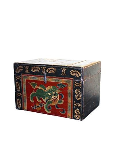 Asian Loft Shandong Dynasty Early 20th Century Foo Dog Box, Red/Green/Black