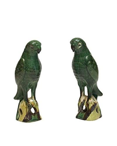 Asian Loft Set of 2 Ceramic Parrots, Green Multi