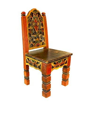 Asian Loft Carved and Painted Sunat Chair, Red
