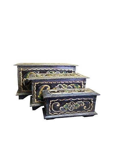 Asian Loft Set of 3 Carved and Painted Nesting Boxes