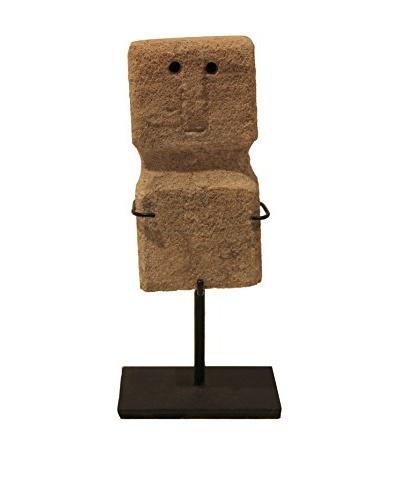 Asian Loft Vintage Stone Takoda Statue on Stand, Grey/Black