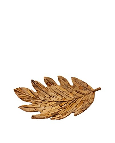 Asian Loft Mosaic Petrified Wood Leaf Tray, Brown