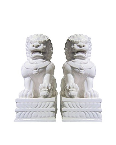Asian Loft Set of 2 Ceramic Imperial Foo Dog Statues, White