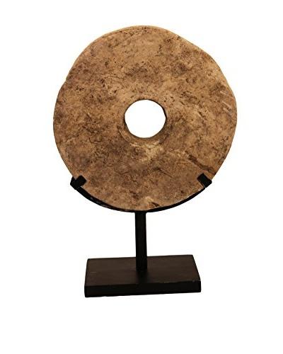 Asian Loft Primitive Round Grindstone on Stand, Grey/Black