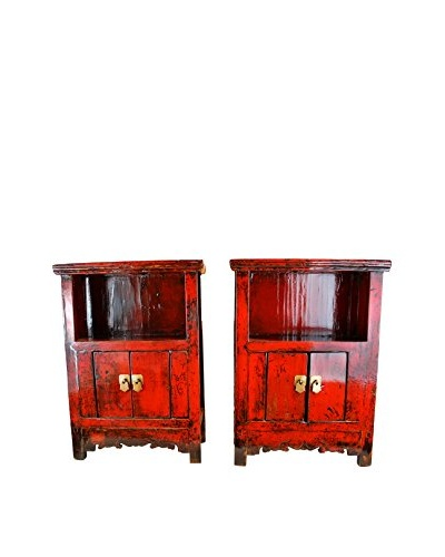 Asian Loft Shandong Dynasty Pair of Bedside Cabinets