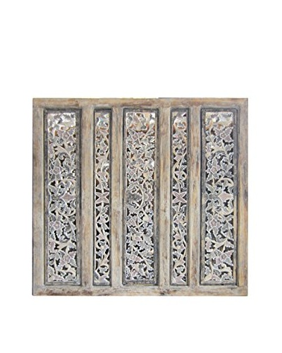 Asian Loft Carved Five Panel Screen Wall Décor, Multicolored