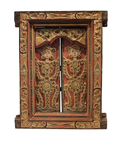Asian Loft Vintage Carved Balinese Window Panel Wall Décor, Multicolor