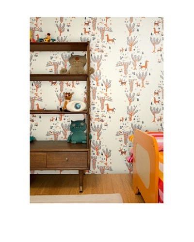 "Astek Wall Coverings Set of 2 ""Tangerine Forest"" Picnic Wall Tiles by Jim Flora"