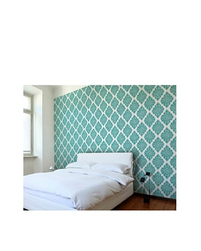 Astek Wall Coverings Set of 2 French Garden Damask Wall Tiles, Teal