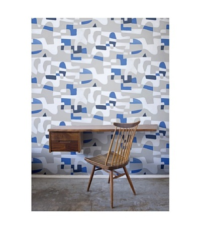 Astek Wall Coverings Set of 2 Shapeshifter Wall Tiles by Jim Flora, Blue Flannel