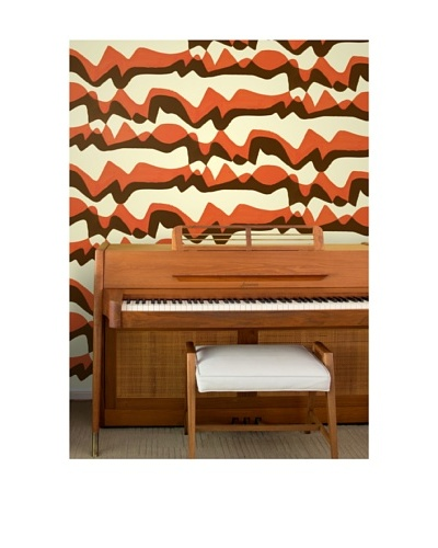 Astek Wall Coverings Set of 2 Subteranean Mountains Wall Tiles by Jim Flora, Orange