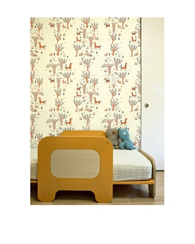 """Astek Wall Coverings Set of 2 """"Orange Forest Picnic"""" Wall Tiles by Jim Flora"""