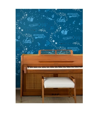 "Astek Wall Coverings Set of 2 ""Rhapsody Night"" Wall Tiles by Jim Flora"