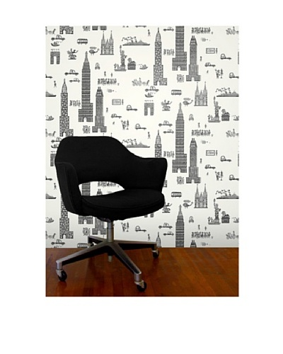 "Astek Wall Coverings Set of 2 ""Manhattan Charcoal"" Wall Tiles by Jim Flora"