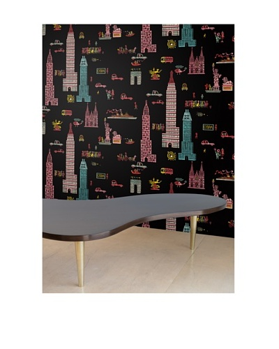 "Astek Wall Coverings Set of 2 ""Manhattan Night"" Wall Tiles by Jim Flora"