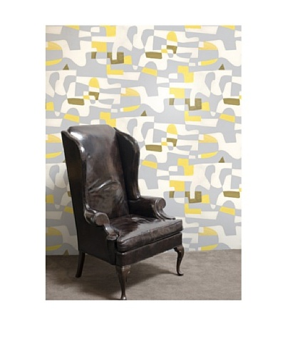Astek Wall Coverings Set of 2 Shapeshifter Wall Tiles by Jim Flora, Yellow Flannel
