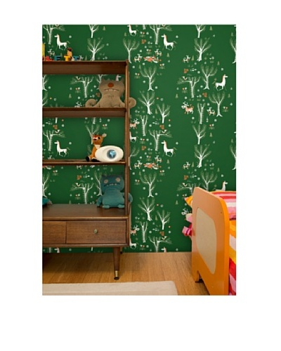 "Astek Wall Coverings Set of 2 ""Green Forest Picnic"" Wall Tiles by Jim Flora"