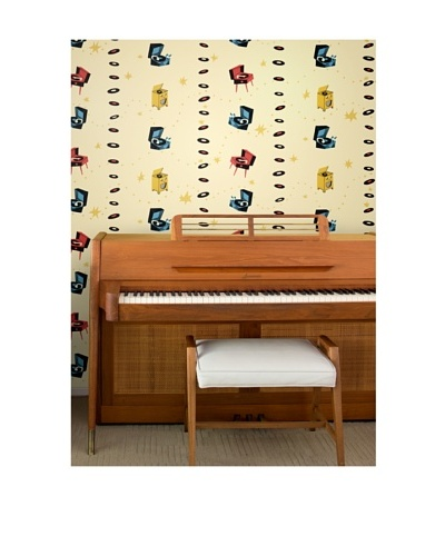 Astek Wall Coverings Set of 2 Jumping Jive Day Wall Tiles by Jim Flora