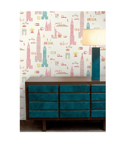 "Astek Wall Coverings Set of 2 ""Manhattan Day"" Wall Tiles by Jim Flora"