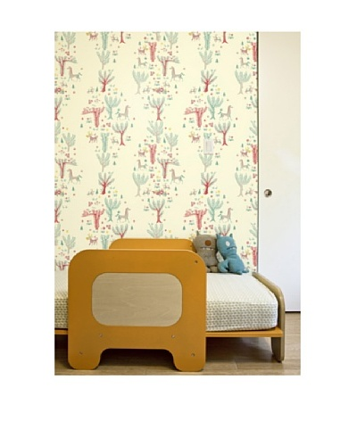 """Astek Wall Coverings Set of 2 """"Pale Forest Picnic"""" Wall Tiles by Jim Flora"""