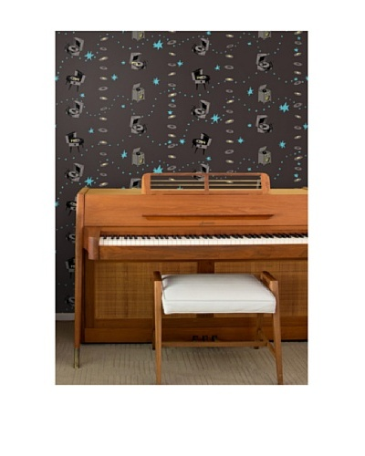 Astek Wall Coverings Set of 2 Jumping Jive Night Wall Tiles by Jim Flora