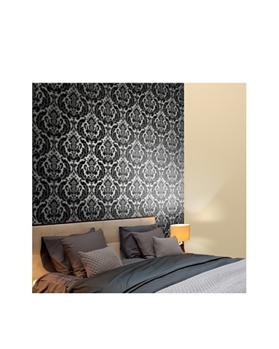 Astek Wall Coverings Set of 2 Heritage Damask Wall Tiles, Black