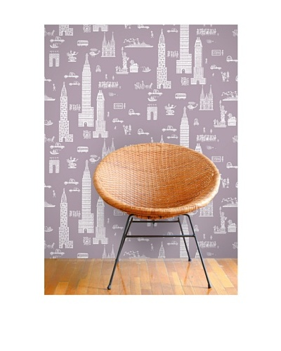 Astek Wall Coverings Set of 2 Manhattan Pale Wall Tiles by Jim Flora