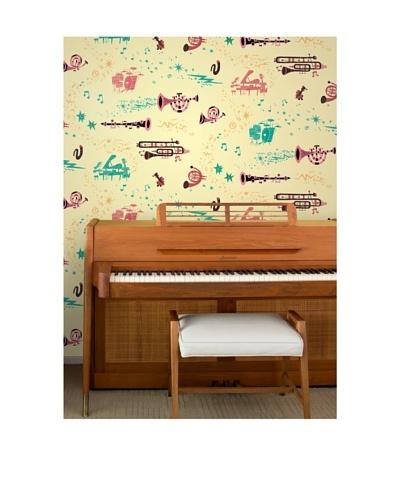 "Astek Wall Coverings Set of 2 ""Rhapsody Day"" Wall Tiles by Jim Flora"