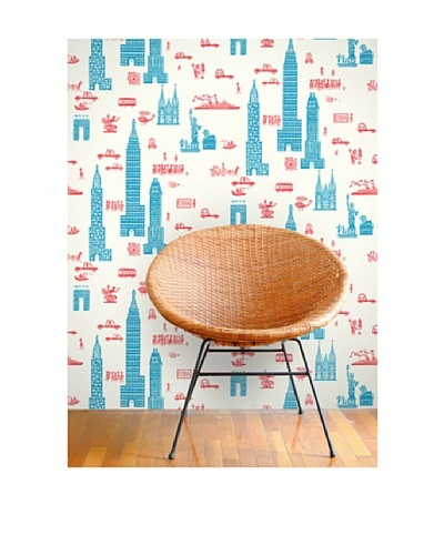 Astek Wall Coverings Set of 2 Manhattan Wall Tiles by Jim Flora, Red Blue