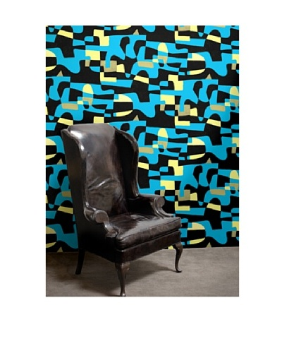Astek Wall Coverings Set of 2 Shapeshifter Wall Tiles by Jim Flora, Blue Sky