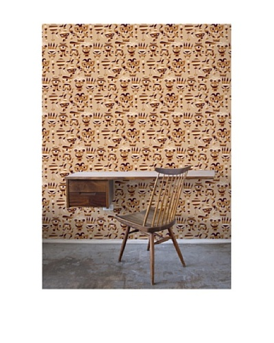Astek Wall Coverings Set of 2 Mardisgras Sienna Wall Tiles by Jim Flora