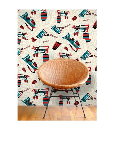 Astek Wall Coverings Set of 2 Mambo For Cats Wall Tiles by Jim Flora