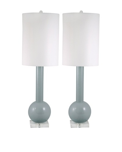 Aurora Lighting Set of 2 Gray Glass Long Neck Table Lamps