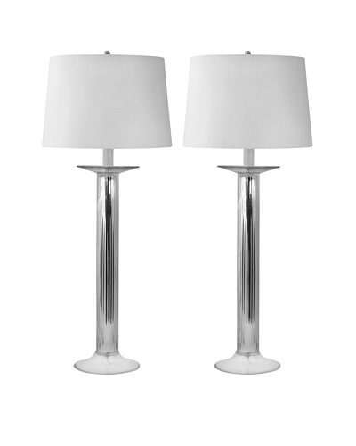 Aurora Lighting Mercury Glass Fluted Column Table Lamp, Set of 2As You See