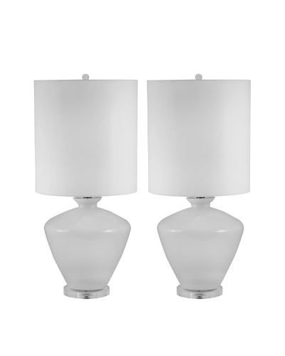 Aurora Lighting White Glass Urn Table lamp, Set of 2