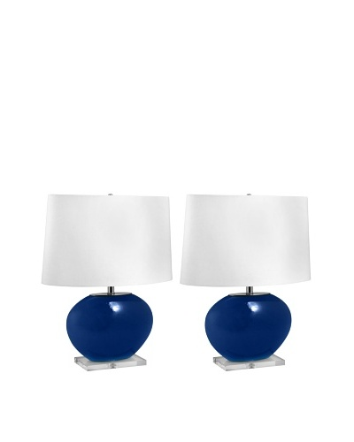 Aurora Lighting Oval Glass Table Lamp [Royal Blue]