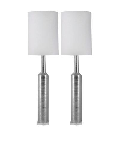 Aurora Lighting Spun Platinum Ceramic Table Lamp, Set of 2