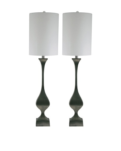 Aurora Lighting Set of 2 Cast Aluminum Candlestick Lamps, Black
