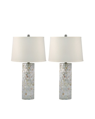 Aurora Lighting Set of 2 Mother-of-Pearl Cylinder Table Lamps, Off-White