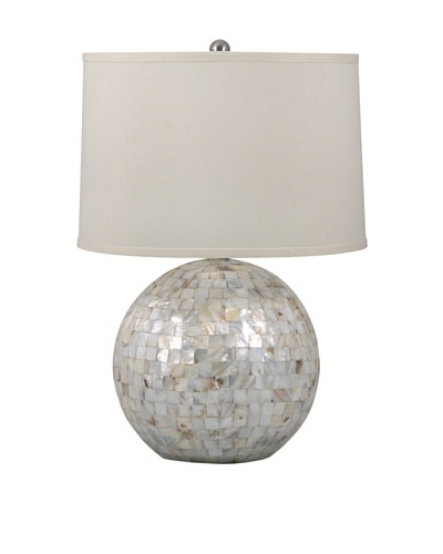 Aurora Lighting Mother-of-Pearl Orb Table Lamp, Off-White