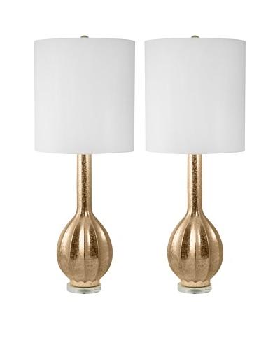 Aurora Lighting Gold Embossed Ceramic Table Lamp, Set of 2
