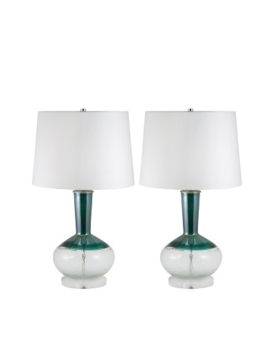 Aurora Lighting Set of 2 Hand-Cut Glass Table Lamps, White/Teal
