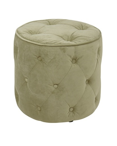 Avenue 6 Curves Tufted Round Ottoman, Spring Green