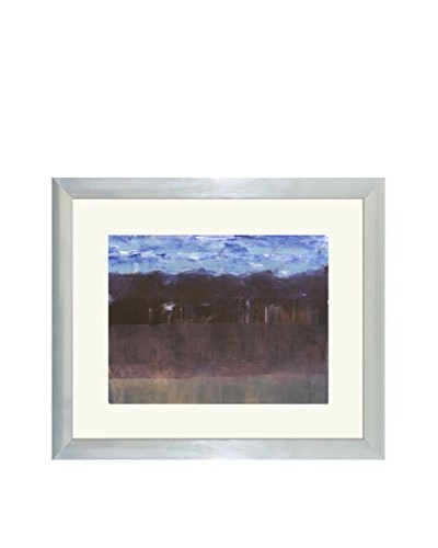 Aviva Stanoff One-of-a-Kind Handpainted Blue & Plum Framed Lithograph