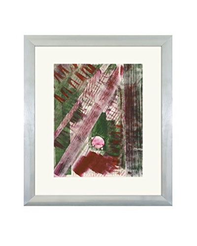 Aviva Stanoff One-of-a-Kind Handpainted Green & Red Framed Lithograph